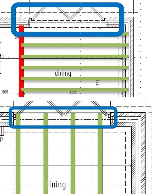 Floor joist orientation when specifying lintels