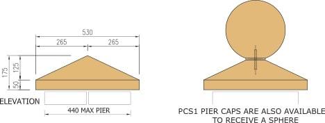 Type 1 cast stone pier caps