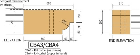 Cast stone corbel diagram