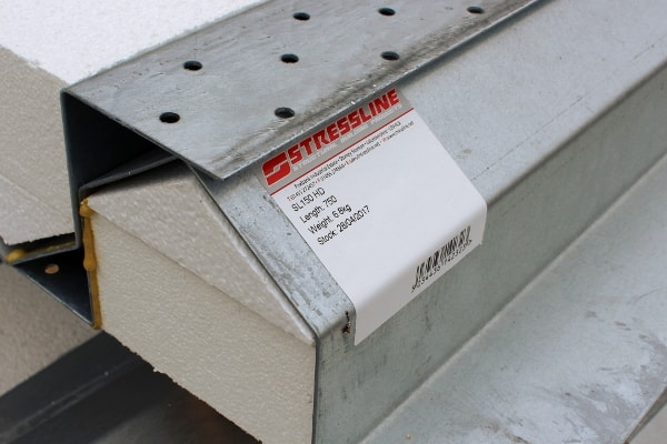 Stressline steel lintel label